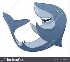 aquatic wildlife cartoon character shark stock illustration
