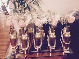 Feather And Flower Centerpieces by Cheap And Easy Center Pieces For A 1920s Themed Party Or Any
