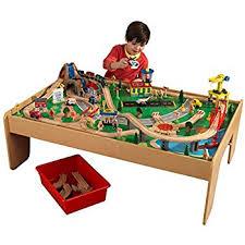 thomas train set wooden table amazon com 48 piece kidkraft rapid waterfall train set and wooden