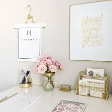 Pink white and gold office …  Home  Pinte…