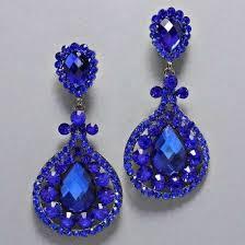 royal blue earrings designer inspired hematite drop royal blue rhinestone clip on