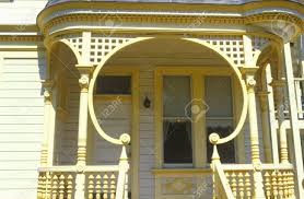 unusual lattice work on porch of san francisco ca residence stock