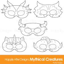 mythical creatures printable coloring masks dragon mask