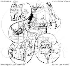 clipart of retro vintage black and white goldilocks and the three