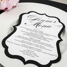 Wedding Invitations With Menu Cards Black And White Wedding Menu Cards Too Chic U0026 Little Shab Design