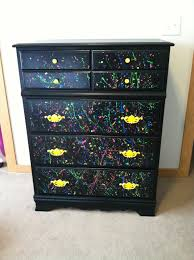 Camo Bedroom Decor by Repainted White Dresser To Black Splatter Paint For My Teen