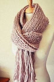 chunky knit scarf extra long wide tassels pure wool made to