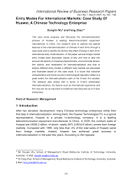 entry modes for international markets case study of huawei a