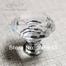 30mm zinc alloy clear crystal sparkle glass kitchen cabinet knobs