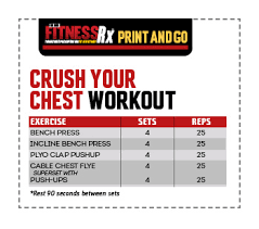 Rep Chart For Bench Press Crush Your Chest 500 Rep Workout Fitnessrx For Men