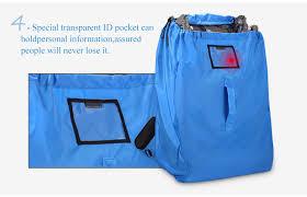 Blue ballistic nylon car seat travel bag with transparent pocket