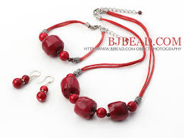red big necklace images Red big coral bead necklace bracelet earrings sets jpg
