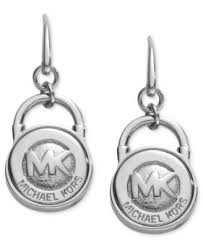 lock earrings michael kors silver tone logo lock earrings fashion jewelry