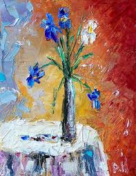 debra hurd original paintings and jazz art flowers in vase irises