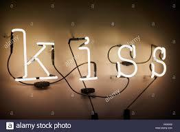 kiss neon lights decoration in bedroom great britain british