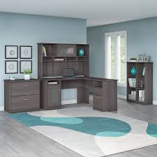 L Shaped Desk With Bookcase Barrel Studio Hillsdale L Shape Desk With Hutch 6 Cube