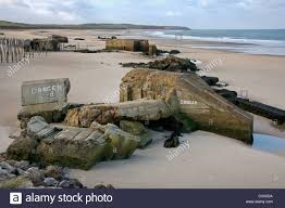 second world war two concrete blockhouses on beach at wissant