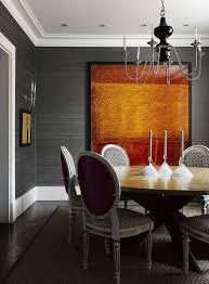 dining room modern gray dining room with black dining table and