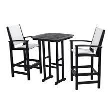 polywood coastal black 3 piece patio bar set with white slings