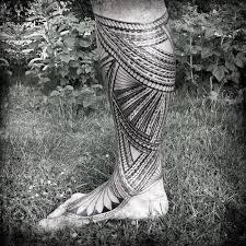 brilliant samoan tribal leg to foot tattoo