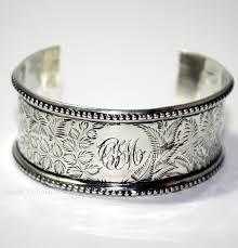 sterling silver monogram bracelet 19th century sterling silver cuff bracelet c i m monogram