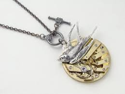 silver bird pendant necklace images Steampunk necklace antique gold key wind pocket watch movement jpg