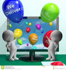 deliver ballons we deliver balloons from computer showing delivery shipping or l