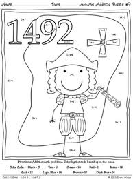 addition math printables color code puzzles fall