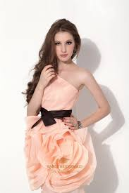 peach short one shoulder organza bridesmaid dress with black belt