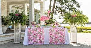 ideas for bridal luncheon fabric adorned party table from lilly pulitzer tropical bridal