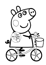 peppa pig on bike cartoon coloring pages for kids printable free