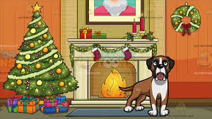 Livingroom Cartoon A Curious Boxer Dog With Living Room Decorated For The Christmas