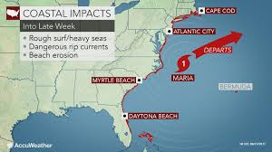 maria brushes north carolina with gusty winds coastal flooding