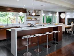 Mid Century Modern Kitchen Flooring by Interior Pendant Lighting With Unique Stools And Wooden Flooring