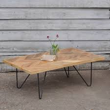 Parquet Coffee Table Reclaimed Hair Pin Coffee Table Parquet Top Home Barn Vintage
