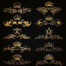 crown with golden ornaments luxury vector 02