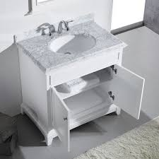36 Inch Bathroom Vanity With Drawers by 36 Inch White Bathroom Vanity Set With White Carrera Marble Top
