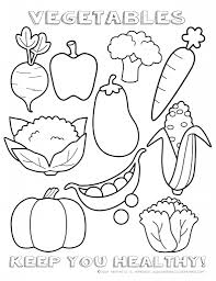 free printable fruit and vegetables color page for vegetable