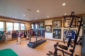 decor recessed lighting and crown molding with wall art also gym