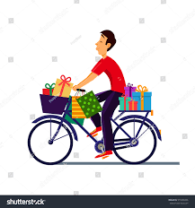 boy on bicycle gifts deliveryman stock vector 570496966