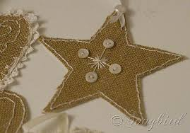 ornaments in burlap and lace