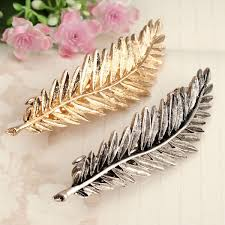 feather hair clip alloy gold silver leaf feather hair clip hairgrip accessory at