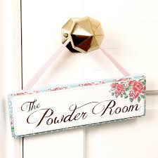 Vintage Powder Room Sign Vintage Rose Powder Room Sign Hanging Wall Plaque H7 5 X W24cm