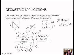 19 solve geometric applications of quadratic equations 1 5 youtube