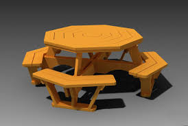 octagon picnic table with plans step iges autodesk inventor