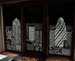 Darkening Shades Buildings And Stars Cut Into Blackout Curtains Turn Your Windows