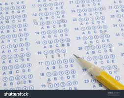 blue bubble scantron sheet number two stock photo 82119871