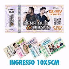 ingresso s 100 ingressos papel moeda 10x5cm shows eventos r 14 90 em