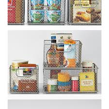 Stackable Kitchen Cabinet Organizer Omaha Steel Mesh Stackable Bins The Container Store
