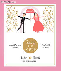 invitation card cartoon design cartoon groom bride wedding invitation card vector design template